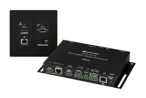 Crestron DM Lite – HD Scaling Auto-Switcher & HDMI® over CATx Extender 300 w/Wall Plate Transmitter, Black